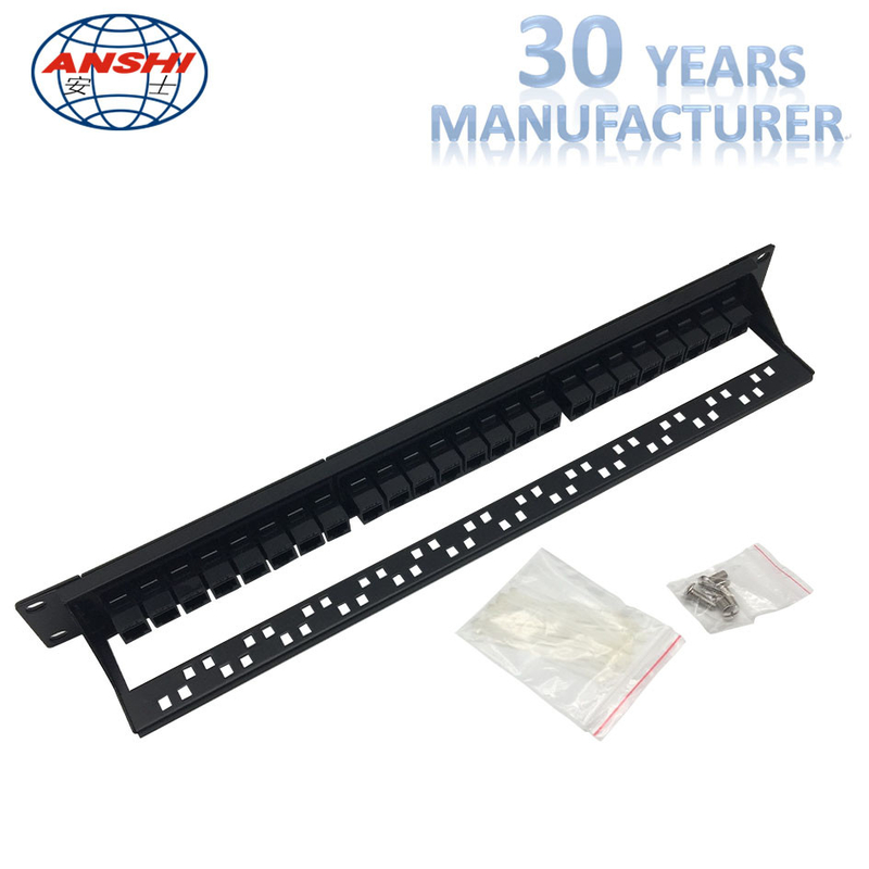 Double Side Connection Thru Type Black Rack Mount Patch Panel 19inch Unshielded Type With SGS Certificate